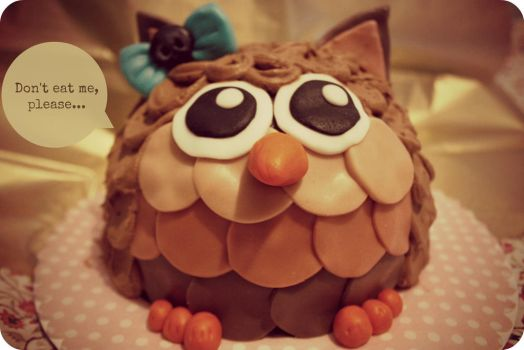 Owl Cake by sorabrownie