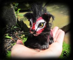 SOLD Coal the baby volcano guardian lion sculpture by CreaturesofNat