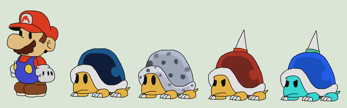 Buzzy Beetle and Spike Top Family (Paper Mario) by ericgl1996