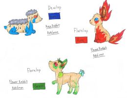 My Fakemon: Dewlop, Flarelop, and Floralop by lisuje