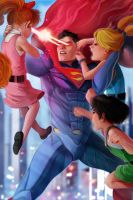 Superman VS The Powerpuff Girls by RossoWinch