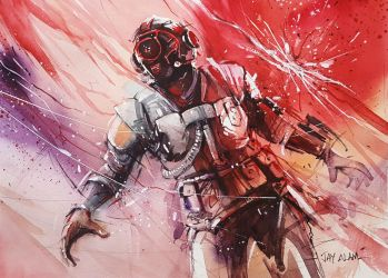 Fortnite #1 - The Visitor - Watercolour Painting by Abstractmusiq