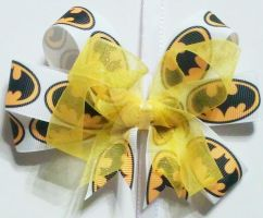 Batman and yellow sheer ribbon clip by wolf-girl87