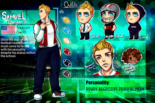 :Working Boy: Samuel Champion ref sheet by juke-boxx
