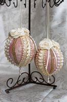 Pink and Cream Victorian Style Ornaments by DaraGallery