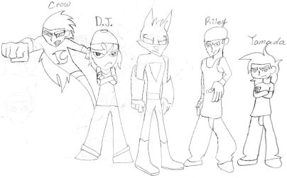 Crow Phantom, D.J., Bat, Riley, and Yamada. by partymammal