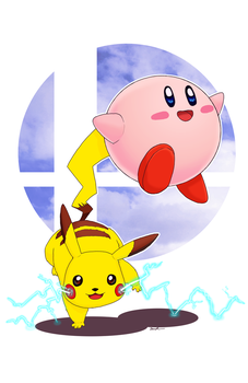 Smash Bros: Pikachu and Kirby by lieusum