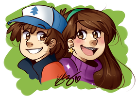 Mabel and Dipper by PastelPyon