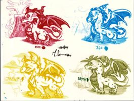 The elemental Dragons by artisteviolet