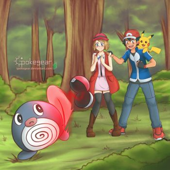 [CM] Serena and Ash Catching Poliwag by ipokegear