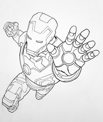 Iron man line drawing by ProfessorPicasso