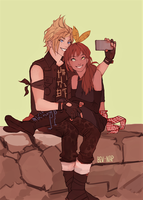 Prompto and OC (Commission) by Bev-Nap
