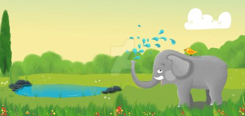 Elephant and the Bird by esmagenc
