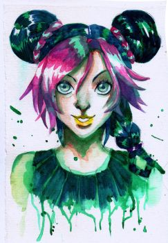 Jolyne - Watercolor Experiment by nilluss