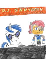 D.J. Showdown - D.J. Pon 3 and Sally Acorn by dth1971