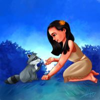 Young Pocahontas and Meeko by Hyzenthlay89