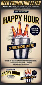 Beer Promotion Happy Hour Flyer Template 3 by Hotpindesigns