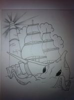 Ship Sea monster Tattoo Design by booders9