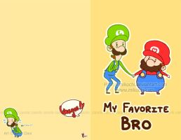 Mario Brothers greeting card by Mikochi