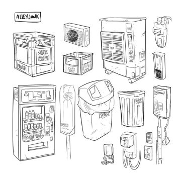 Alley Junk and Power Boxes by mattwileyart
