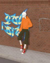Underswap Papyrus (and a brick wall) by Frayed-End-Of-Sanity