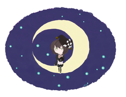 Girl on the moon by ConejoLunaOscura