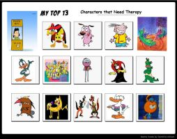My Top 13 Characters That Need Therapy by DarkwingHomer