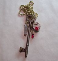 Antique Key with Blood Crystal by mymysticgems