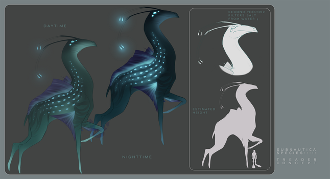Subnautica Species Concept - Treader by Umbreeunix