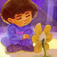 Frisk And Flowey by wunking