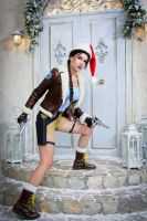 Christmas Lara Croft cosplay - on the doorstep by TanyaCroft