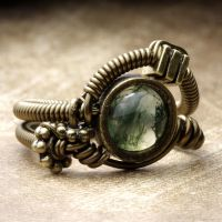 Steampunk moss Agate Ring by CatherinetteRings