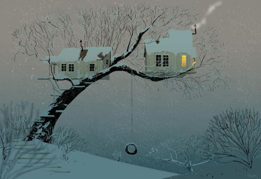 Snowy Tree House by PascalCampion
