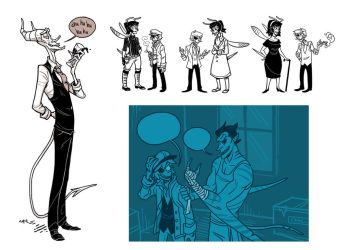 2012 June sketches, inks and tones by Grim-Amentia