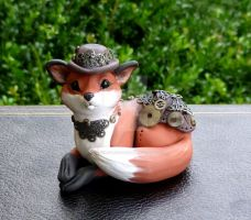 Dapper Steampunk Fox Sculpture by MysticReflections
