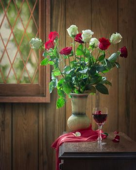 Still life with white and red roses by Daykiney