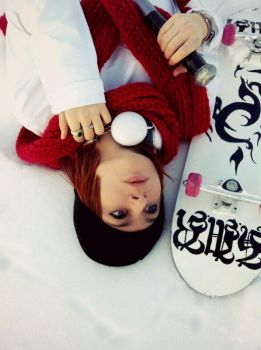 Red+White- Misaki it's snowing! by JudaiCosplay