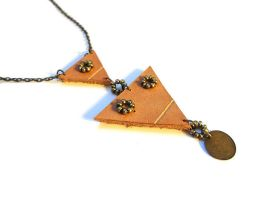 Leather and seed bead necklace by i-am-enrooted