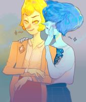 Yellow and Blue Pearl by catharticaagh