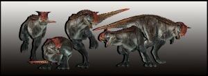 Carnotaurus - 5 Poses by ReD8ull