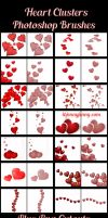 Cluster Hearts Photoshop Brushes plus PNG Cutouts by ibjennyjenny