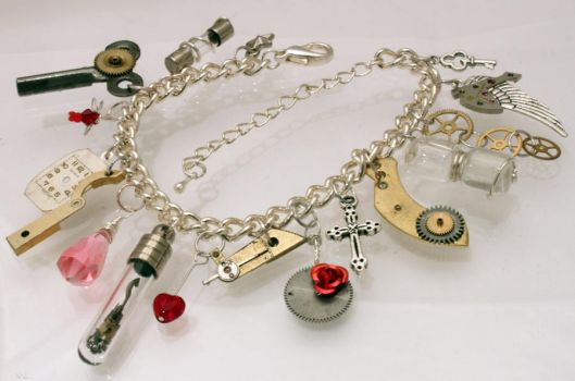 Steampunk charm bracelet by Xerces