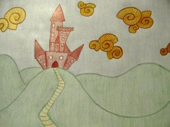 Red Castles And Snail Clouds by JokerrLaughs