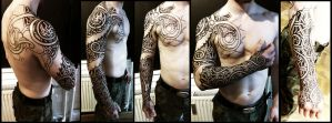 Nordic wyrm and geometry sleeve WiP by Meatshop-Tattoo