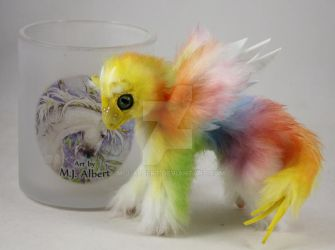 Yellow Face Rainbow Bird Dragon Mini Doll by M-J-Albert
