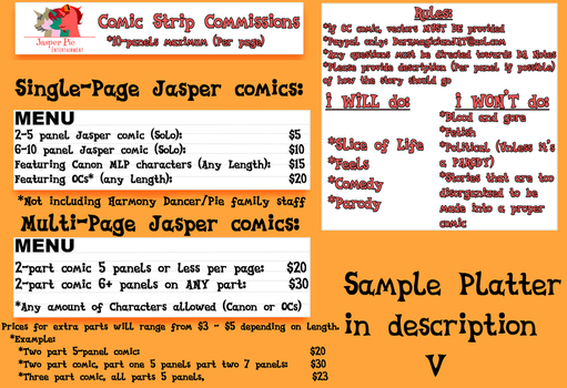 Jasper Pie Comic Commission Guide 2018 by JasperPie