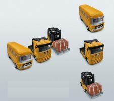 yellow bus icons by couryshen