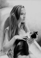 lady-in-waiting with a cat by JanKulinicz