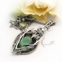 ARVINTARH - silver , green amethyst and pearl by LUNARIEEN