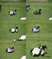 Knights on horses: charging by Comacold-stock